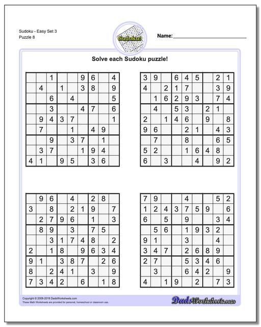 SudokuEasy Set 3 Worksheet