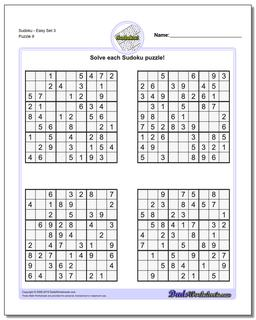 SudokuEasy Set 3 Worksheet #Sudoku #Worksheet