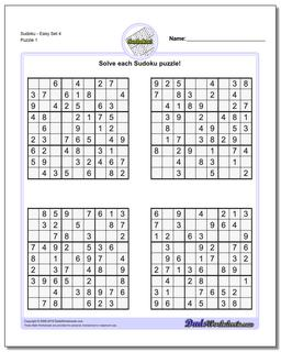 SudokuEasy Set 4 Worksheet #Sudoku #Worksheet