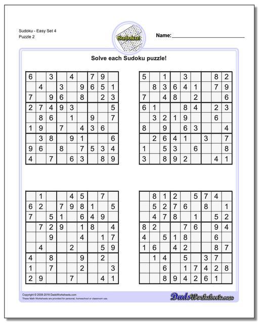 SudokuEasy Set 4 www.dadsworksheets.com/puzzles/sudoku.html Worksheet