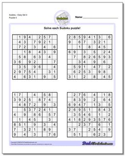 SudokuEasy Set 4 Worksheet #Sudoku #Worksheet