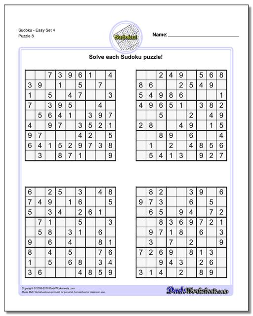 SudokuEasy Set 4 Worksheet