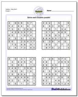 SudokuEasy Set 5 Worksheet #Sudoku #Worksheet