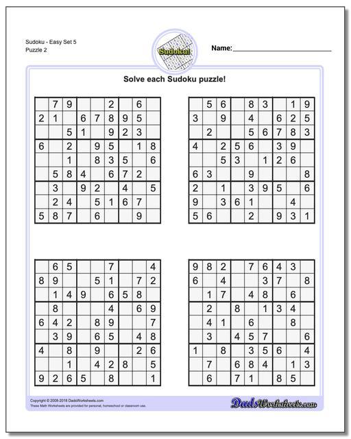 SudokuEasy Set 5 www.dadsworksheets.com/puzzles/sudoku.html Worksheet