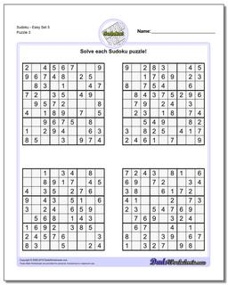 SudokuEasy Set 5 Worksheet #Sudoku #Worksheet
