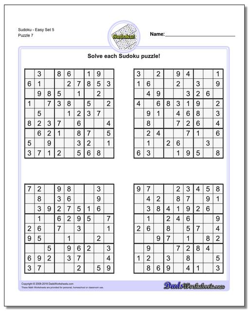SudokuEasy Set 5 Worksheet