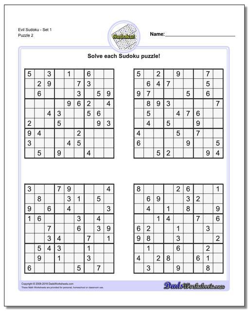 Evil SudokuSet 1 www.dadsworksheets.com/puzzles/sudoku.html Worksheet