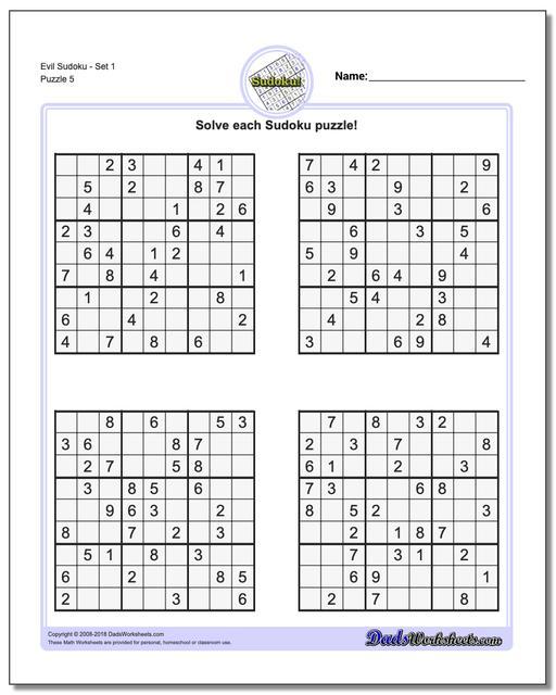 Evil SudokuSet 1 Worksheet