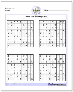 Evil SudokuSet 1 Worksheet #Sudoku #Worksheet