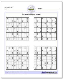 Evil SudokuSet 2 www.dadsworksheets.com/puzzles/sudoku.html Worksheet