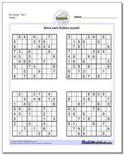 Printable Sudoku Puzzle EvilSet 3