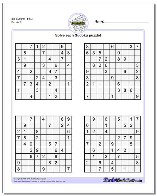 Evil SudokuSet 3 www.dadsworksheets.com/puzzles/sudoku.html Worksheet