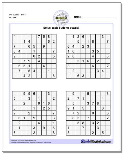 Evil SudokuSet 3 Worksheet