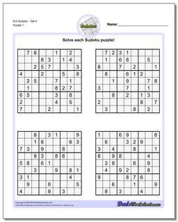 Printable Sudoku Puzzle EvilSet 4