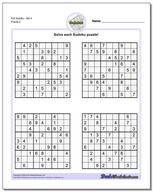 Evil SudokuSet 4 www.dadsworksheets.com/puzzles/sudoku.html Worksheet
