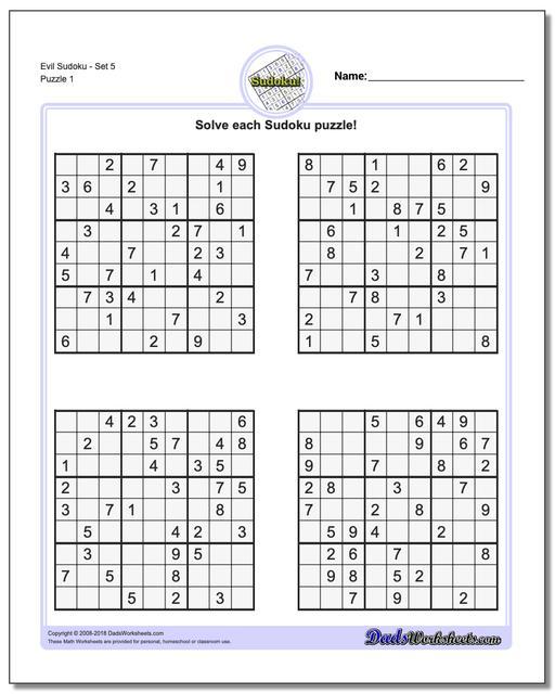 Printable Sudoku Puzzle EvilSet 5