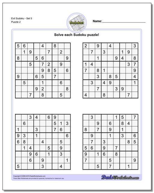 Evil SudokuSet 5 www.dadsworksheets.com/puzzles/sudoku.html Worksheet