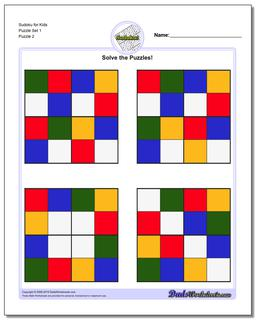 Sudoku for Kids Puzzle Set 1 www.dadsworksheets.com/puzzles/sudoku.html