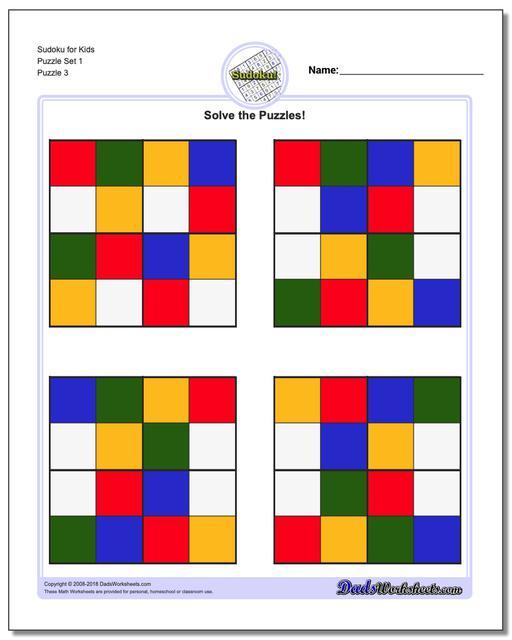Sudoku for Kids Puzzle Set 1