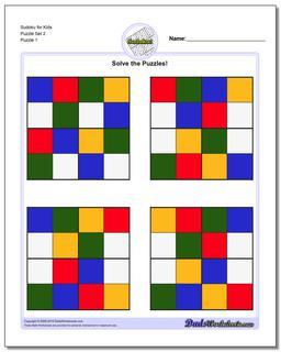 Printable Sudoku Puzzle for Kids Puzzle Set 2