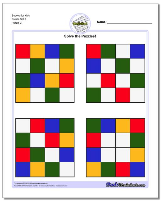 Sudoku for Kids Puzzle Set 2 www.dadsworksheets.com/puzzles/sudoku.html