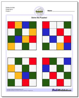 Printable Sudoku Puzzle for Kids Puzzle Set 3