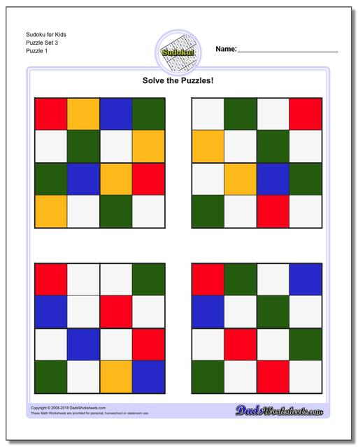 Printable Sudoku Puzzle for Kids Puzzle Set 3