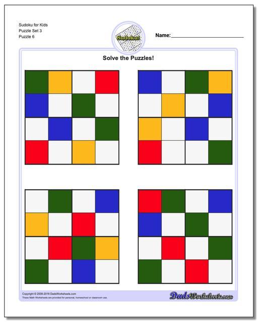 Sudoku for Kids Puzzle Set 3