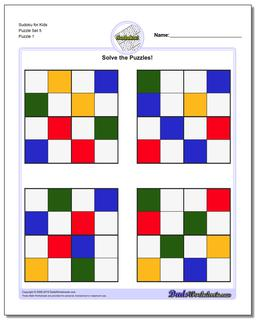Printable Sudoku Puzzle for Kids Puzzle Set 5