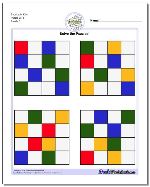 Sudoku for Kids Puzzle Set 5
