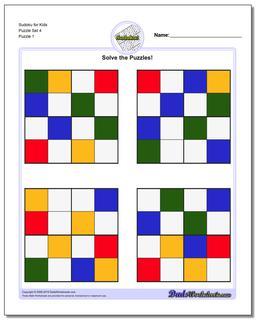 Printable Sudoku Puzzle for Kids Puzzle Set 4
