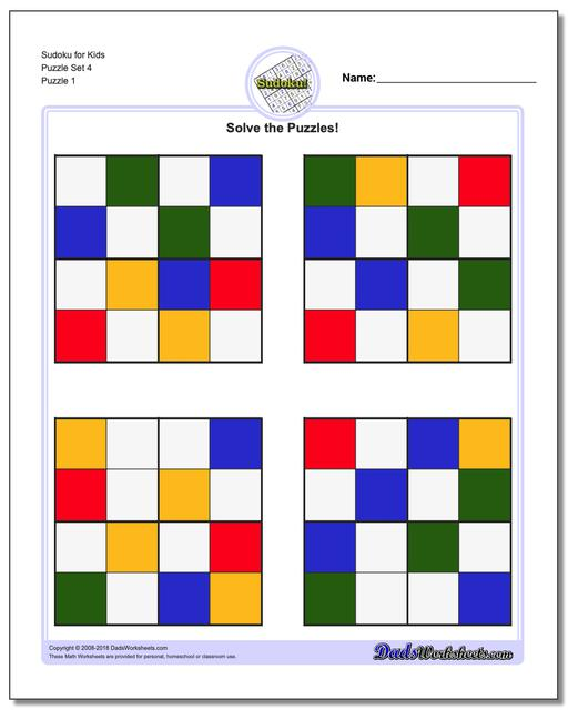 Printable Sudoku Puzzle for Kids Puzzle Set 4