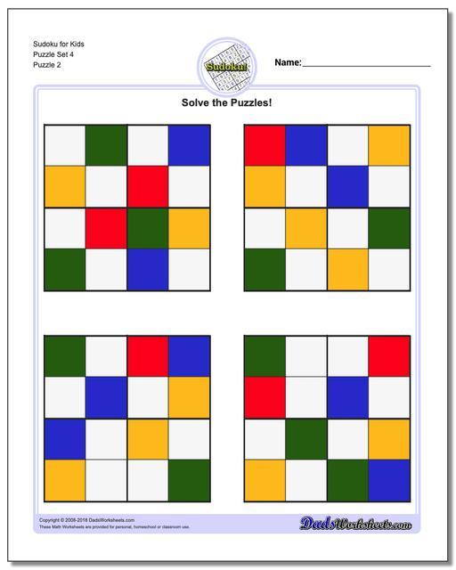 Sudoku for Kids Puzzle Set 4 www.dadsworksheets.com/puzzles/sudoku.html