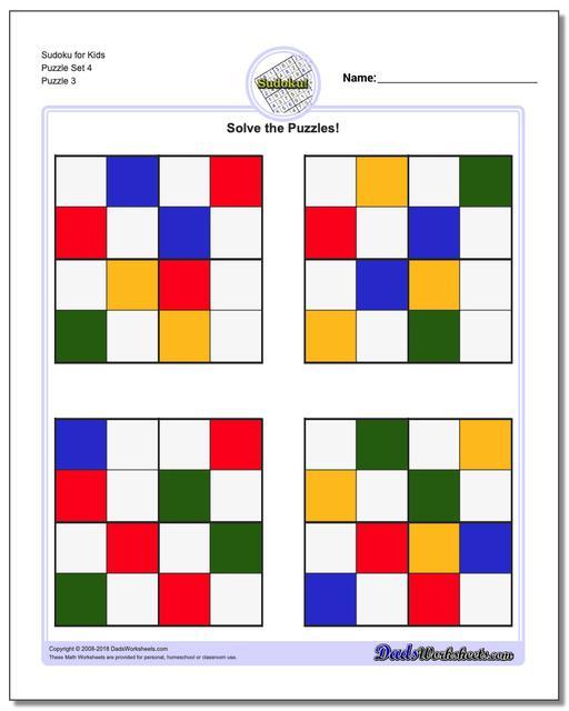 Sudoku for Kids Puzzle Set 4