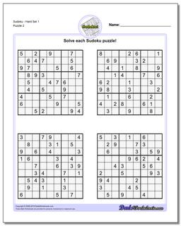 SudokuHard Set 1 Worksheet #Sudoku #Worksheet