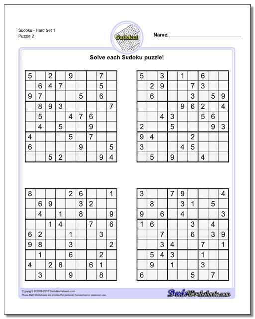 SudokuHard Set 1 www.dadsworksheets.com/puzzles/sudoku.html Worksheet