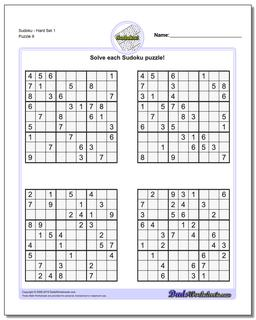 SudokuHard Set 1 Worksheet #Sudoku #Worksheet