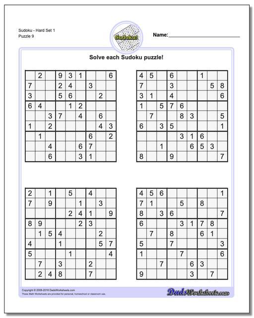 SudokuHard Set 1 Worksheet
