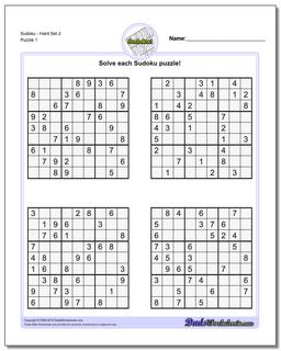 SudokuHard Set 2 Worksheet #Sudoku #Worksheet