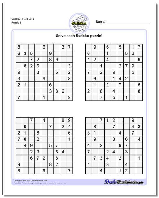 SudokuHard Set 2 www.dadsworksheets.com/puzzles/sudoku.html Worksheet