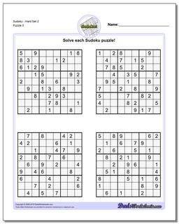 SudokuHard Set 2 Worksheet #Sudoku #Worksheet