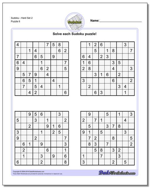 SudokuHard Set 2 Worksheet