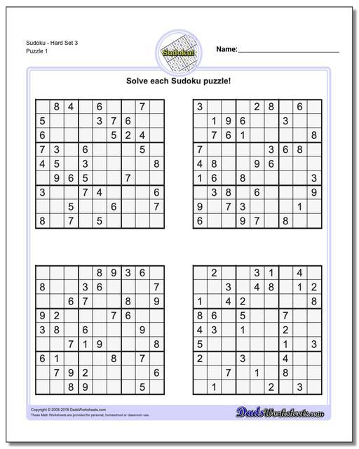Printable Sudoku PuzzleHard Set 3