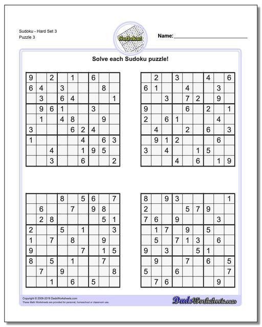 SudokuHard Set 3 Worksheet