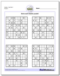 SudokuHard Set 3 Worksheet #Sudoku #Worksheet
