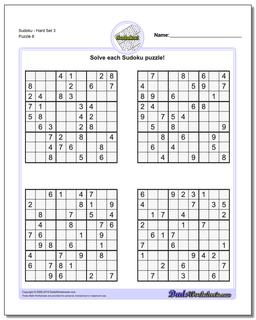 SudokuHard Set 3 Worksheet #Sudoku #Worksheet