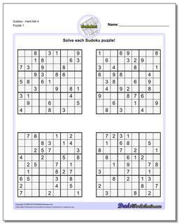 Printable Sudoku PuzzleHard Set 4
