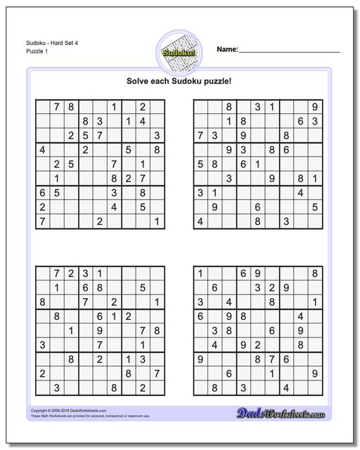 picture about Printable Sudoku 4 Per Page called Sudoku - Tough
