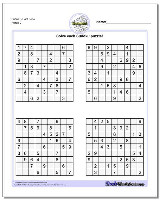 SudokuHard Set 4 www.dadsworksheets.com/puzzles/sudoku.html Worksheet