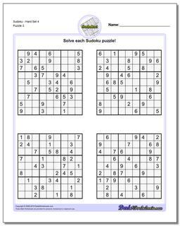 SudokuHard Set 4 Worksheet #Sudoku #Worksheet